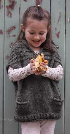 Sewing Crafts For Children Knitting Pattern for Comfort Vest in Child and Adult Sizes - Great Mommy and Me pattern! Ekaterina Blanchard's vest features pockets, brioche rib yoke, rolled neckline for sizes from 1 year to adult. Poncho Knitting Patterns, Crochet Poncho, Crochet Baby, Crochet Patterns, Knitting For Kids, Free Knitting, Knitting Projects, Pull Poncho, Knit Vest Pattern