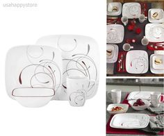 Dinnerware Set Service For 4 Plates Soup Cereal Bowls Mugs Kitchen Home Decor #Corelle