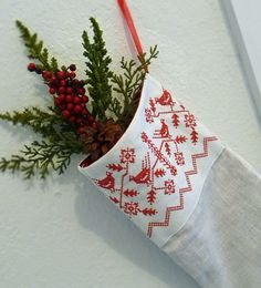Large Nordic Redwork Linen Christmas Stocking by CherieWheeler, $40.00
