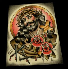 Classic Jesus Color Tattoo Flash por ParlorTattooPrints en Etsy, $32.00