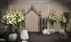 Wedding Reception Line Backdrop Pieces (White, cream, and green flowers)