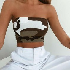 New Women Strapless Seamless Camouflage Print Boob Tube Corset Bandeau Tops Stretch Vest Bra Tank Top Women Crop Top Teenage Outfits, Trendy Outfits, Summer Outfits, Cute Outfits, Vest Outfits, Bandeau Tops, Camouflage, Top Fashion, Fashion Outfits