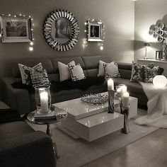 Lovely evening atmosphere✨ wish you beautiful evening to your great homes my dear friends. Living Room Decor Cozy, Formal Living Rooms, Living Room Grey, Living Room Interior, Home Living Room, Apartment Living, Black And Silver Living Room, Dining Room Design, Decoration