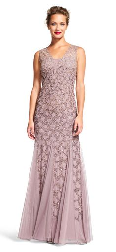 Adrianna Papell | Scale Beaded Godet Gown with Sheer Neckline