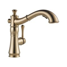 Give your kitchen sink a touch of premium style by installing this Delta Cassidy Single-Handle Pull-Down Sprayer Kitchen Faucet in Champagne Bronze. Pull Out Kitchen Faucet, Kitchen Sink Faucets, Kitchen Handles, Kitchen And Bath, Ranch Kitchen, Condo Kitchen, Summer Kitchen, Kitchen Redo, Kitchen Pantry