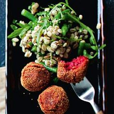 Beetroot falafels and barley-bean salad, Finnish Food, August 2016