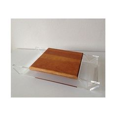 Image of Vintage Lucite & Wood Cheese Board Server Tray