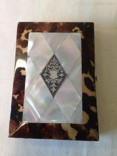 Antiques Atlas - 19th C Card Case.M.O.P.Tortoiseshell & Silver