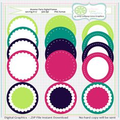 """4"""" Digital Frames - matches Monster Party Clipart w/Bunting and 1"""" Circles Digital Collage Sheet (48 images) Set # llg.fr117"""