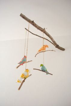 Fabric Bird mobile on natural stick Nursery Nook, Bird Nursery, Feather Mobile, Bird Mobile, Diy Arts And Crafts, Cute Crafts, Paper Crafts, Fabric Covered Canvas, Homemade Art