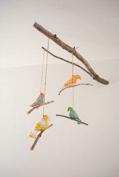 Simple Rustic Bird Mobile