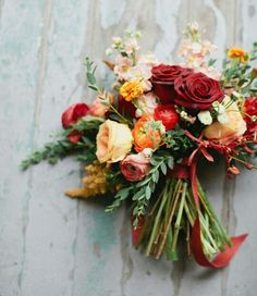 Mixed texture red, orange, peach bouquet