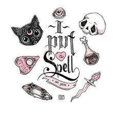 skulls cute kawaii eye pink crystal spells witchcraft third eye tarot wicca Ouija board black cats i put a spell on you bewitching Dibujos Tattoo, Desenho Tattoo, Stabilo Pen, Art Pastel, Arte Sketchbook, Flash Art, Creepy Cute, Book Of Shadows, Future Tattoos