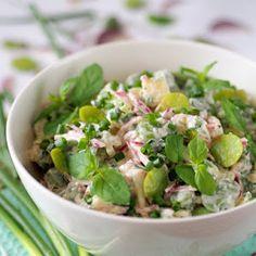 Sałatka ziemniaczana z bobem i miętą Sprouts, Potato Salad, Gazpacho, Tortellini, Bob, Potatoes, Vegetables, Ethnic Recipes, Lunch