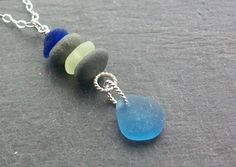 Scottish Sea Glass and Beach Stone Sterling Silver Cairn Necklace £22.50