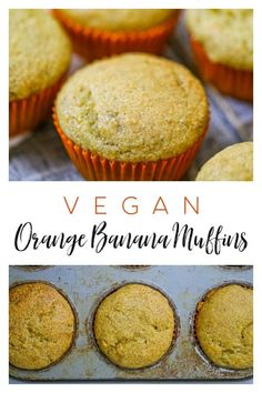 Vegan Orange Banana Muffins with Orange Cream Cheese Frosting! | Daily Vegan Meal Vegan Breakfast Recipes, Breakfast Dishes, Delicious Vegan Recipes, Vegan Snacks, Delicious Desserts, Fruit Recipes, Snack Recipes, Dessert Recipes, Banana Recipes