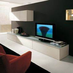 Modern Glass Top TV Stand furniture in White - Features: Matt lacquered with smooth edge.-- LAfurnitureStore