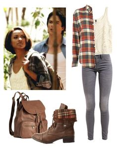 """""""Bonnie Bennett inspired outfit - tvd"""" by shadyannon ❤ liked on Polyvore featuring H&M, Band of Outsiders and Charlotte Russe"""