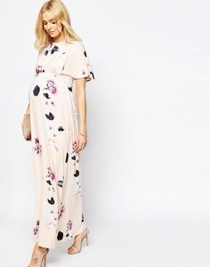 ASOS Maternity | ASOS Maternity Angel Sleeve Maxi With Lace Inserts in Spaced Floral Print at ASOS