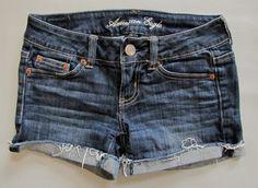 "American Eagle denim Shorts 0 Shortie Dark Raw frayed Cut Offs Jean stretch 3"" #AmericanEagleOutfitters #Denim"