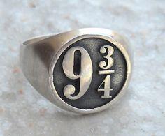 Solide sterlingsilber 925 Harry Potter Platform 9 3/4 Hogwarts Expres Ring *** aufgrund der Vielzahl von Bestellungen aus diesem Ring wird die