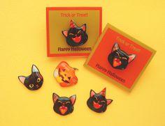 黒猫・かぼちゃのピンブローチ・ハロウィン