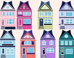 Colorful Rowhouses Clipart By YumPOPclipart On Etsy