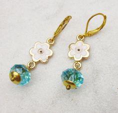 508224c8c Daisy earrings evil eye blue crystal earrings Candy Jewelry, Jewelry Box,  Jewelry Accessories,
