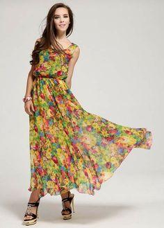 Woman Beach Essential Sleeveless Flowers Printed Maxi Dress #zinastore