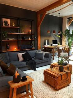 Masculine Industrial Living Room With A Wall-Mounted Shelving Unit - Living Room Designs House Design, Room Design, Interior, Home, Industrial Livingroom, Industrial Living Room Design, Elegant Living Room, House Interior, Home Office Design