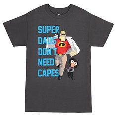 The Incredibles Super Dads Dont Need Capes TShirt Charcoal XXLarge *** Details can be found by clicking on the image. Disney Incredibles, Super Dad, Disney Shirts, Cape, Image Link, Mens Tops, Mantle, Cabo, Cloak