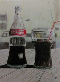 Coca cola bottle still life sketch  #stilllife
