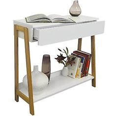 Hall Console Table Wooden White Side Tables Storage Shelf Drawer Small Furniture for sale online Drawer Shelves, Storage Drawers, Storage Shelves, Shelf, Vintage Writing Desk, Writing Desk With Drawers, Small Furniture, Home Furniture, Furniture Design