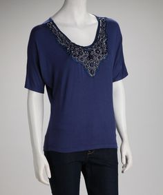 Take a look at this Navy Beaded Top by Jazzy Martini on #zulily today!