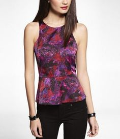 PRINTED PEPLUM SHELL TOP at Express