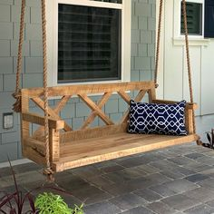 31 The Best Porch Swing Design Ideas - Outdoor porch swings are a classic accessory on the front porch of a home. They are a great place to cool off on a hot evening. In the last twenty yea. Resin Patio Furniture, Backyard Furniture, Farmhouse Furniture, Front Porch Furniture, Rustic Furniture, Antique Furniture, Geek Furniture, Furniture Layout, Furniture Design