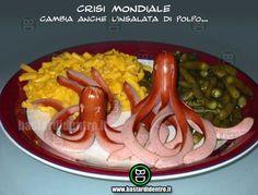 Anche la cucina si adegua al costo della vita!  #bastardidentro #bd #risata #comico #polpo #wurstel #insalata