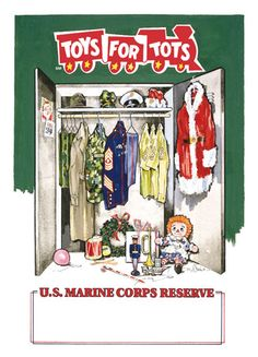 1998 Toys for Tots poster Usmc, Marines, Toys For Tots, Raggedy Ann And Andy, Christmas Time, Holiday, Winter Time, Winter Wonderland, Party Themes