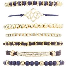 Charlotte Russe Mixed Embellished Bracelets - 7 Pack ($6) ❤ liked on Polyvore featuring jewelry, bracelets, navy, rhinestone jewelry, beading charms, bead jewellery, navy charms and braid jewelry