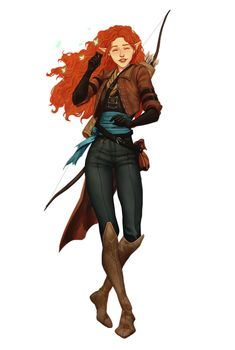 Female Half-Elf Redhead Ranger Archer - Pathfinder PFRPG DND D&D 3.5 5th ed d20 fantasy