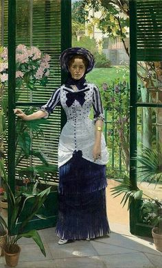 """Summer Day Dress worn by Madame Bartholomé in the painting """"In the Conservatory"""" by Albert Bartholomé , 1881.  Cotton with printed purple dots and stripes. Skirt having knife-pleated white and purple stripes to create the impression of a white underskirt."""