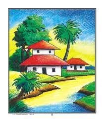 Oil Pastel Landscape, Easy Landscape Paintings, Scenery Paintings, Oil Pastel Paintings, Oil Pastel Art, Oil Pastel Drawings, Art Drawings Sketches Simple, Art Drawings For Kids, Landscape Drawings