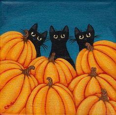 Halloween Black Cats and Pumpkins Original Folk by KilkennycatArt