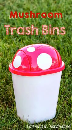 Little Tabletop trash bins from Dollar Store, spray paint, vinyl circle cut outs..... adorable!!