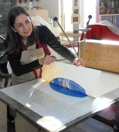 Lino cut with Richenda Court at Ochre Print Studio