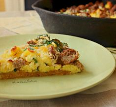 Spinach and Parmesan Scramble Egg Bake on a Cornbread Crust! Yes Please!