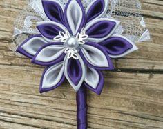 Purple and Grey Kanzashi Flower Boutonniere