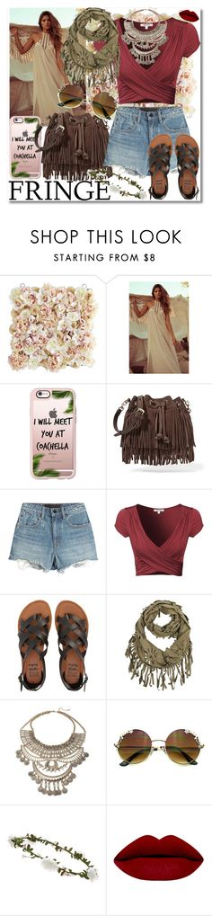 """catch ya at coachella."" by rach-is-a-fashion-major ❤ liked on Polyvore featuring Pier 1 Imports, Casetify, Rebecca Minkoff, Alexander Wang, Billabong, Accessorize, fringe, boho, festival and coachella"