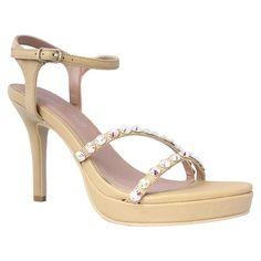 Mandy by Alisha Hill Tan Rhinestone Strappy Sandal Prom Dress Shoes