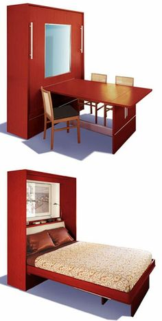 really like this Murphy Bed idea for the guest room/craft room, work desk by day, Guest bed when needed!